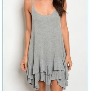Gray Ruffle Tiered Mini Dress